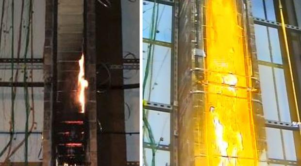 Two fire tests, one (at right) where there is a void established as might exist with cladding, and one (at left) with a fire started at the bottom of an open faced column (ABI/PA)