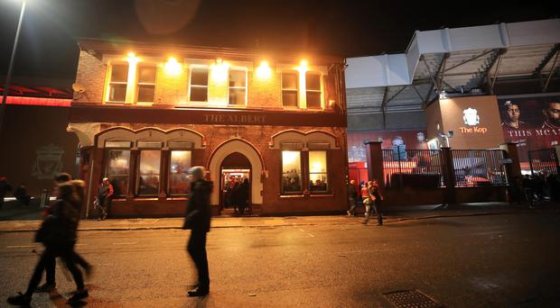 The Albert after the Champions League match at Anfield, Liverpool (PA)