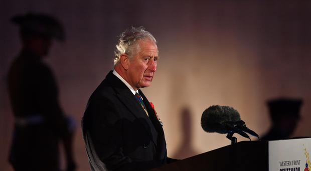 The Prince of Wales at an early-morning memorial service at the Villers-Bretonneux Memorial in France, to mark the 100th anniversary of the Battle of Villers-Bretonneux (Joe Giddens/PA)