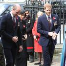The Duke of Cambridge, Meghan Markle and Prince Harry arrive for Anzac Day commemorations (Jonathan Brady/PA)