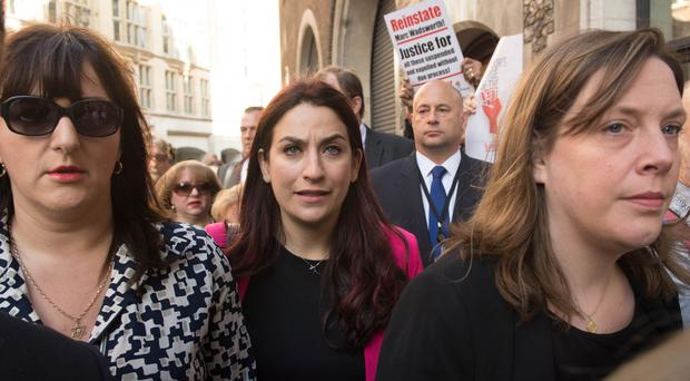 Labour MPs Ruth Smeeth, Luciana Berger and Jess Philllips at a demonstration outside the Labour party disciplinary hearing for Marc Wadsworth in London (Stefan Rousseau/PA)