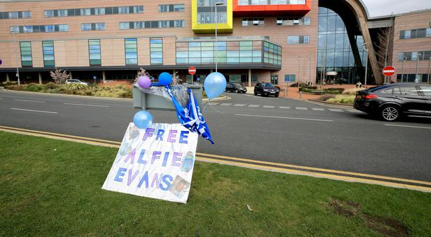 A sign is placed outside Alder Hey Children's Hospital in Liverpool (PA)