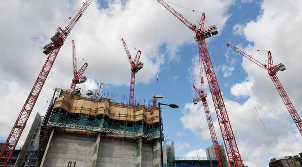 Cranes at a construction site in London