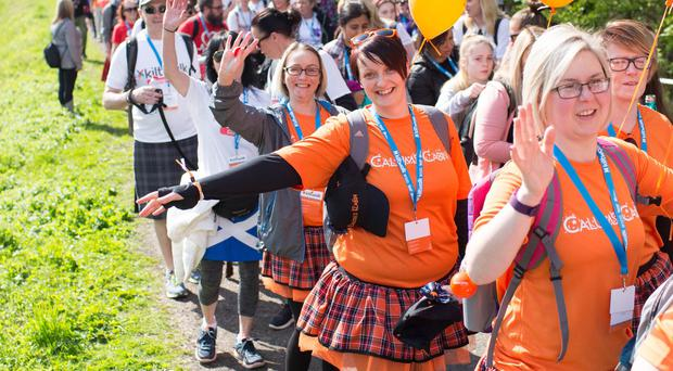 More than 10,000 people took part in Glasgow's annual charity Kiltwalk (Elaine Livingstone/PA)
