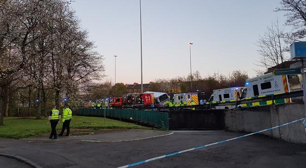 Eight people are being treated in hospital after the crash in Glasgow (Feargal Dalton/PA)