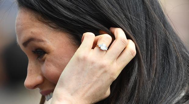 Meghan Markle wearing her engagement ring (Joe Giddens/PA)
