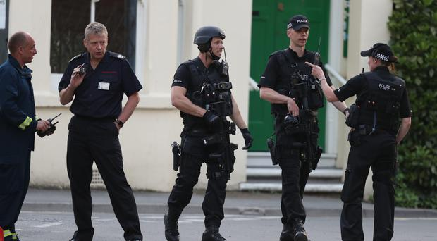 Emergency Services presence near Paradise Square where armed police were locked in a stand-off with a gunman (Steve Parsons/PA)