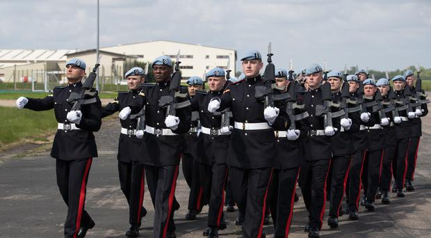 3 Regiment Army Air Corps practice marching at Wattisham Airfield in Suffolk as they prepare for the royal wedding (Aaron Chown/PA)