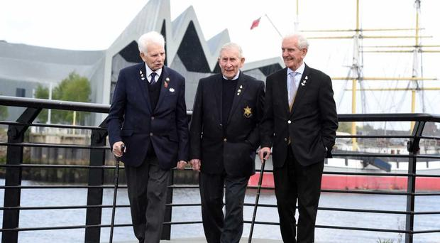 Veterans Bernard Roberts, Edwin Leadbetter and James Docherty (M Owens/Poppyscotland)