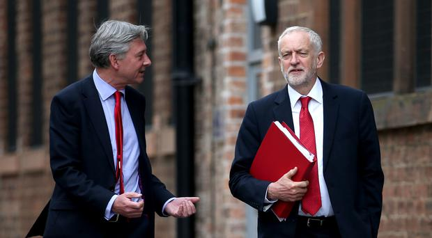 Labour leader Jeremy Corbyn and Scottish leader Richard Leonard visited the Fairfield Ship Building Museum in Glasgow (Jane Barlow/PA)