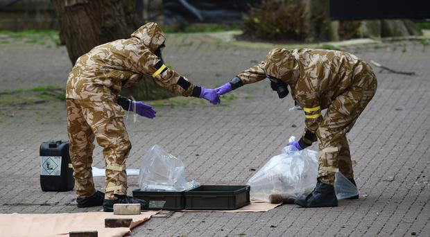 Military personnel at the site near the Maltings in Salisbury where Sergei Skripal and his daughter Yulia were found on a park bench (Ben Birchall/PA)