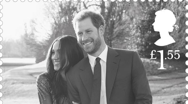 Prince Harry and Meghan Markle in the celebratory royal wedding stamps (Royal Mail/PA)