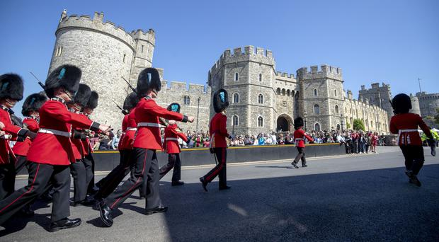 Changing of the guard at Windsor Castle in Berkshire ahead of the royal wedding this weekend (Steve Parsons/PA)