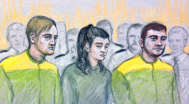 Zak Bolland, Courtney Brierley and David Worrall are accused of murdering four children in a house fire (Elizabeth Cook/PA)