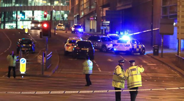 Emergency services at Manchester Arena after the explosion (Peter Byrne/PA)