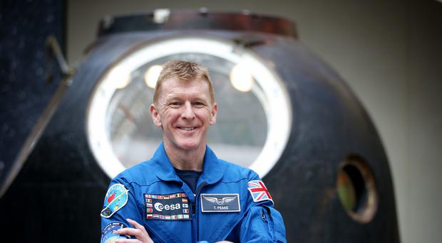 Astronaut Tim Peake was reunited with the Soyuz TMA-19M descent module at the National Museum of Scotland in Edinburgh (Jane Barlow/PA)
