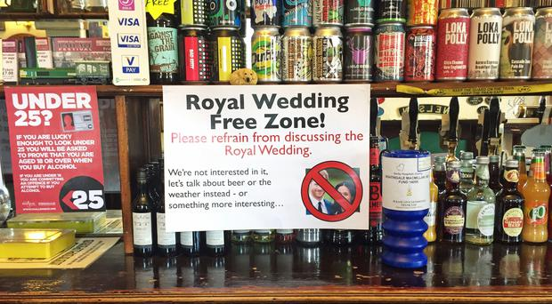 A Royal Wedding Free Zone poster on display at The Alexandra Hotel in Derby (Josh Payne/PA)