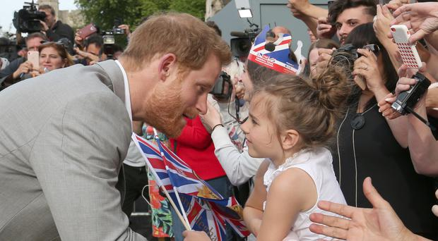 Prince Harry during a walkabout in Windsor (Ben Birchall/PA)