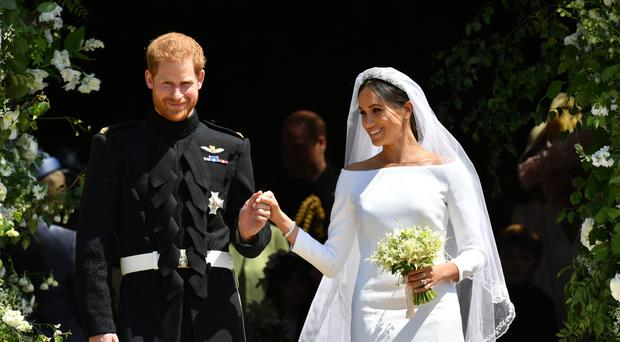 Meghan carried sprigs of myrtle in her bouquet (Ben Birchall/PA)