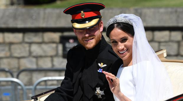 Prince Harry and Meghan Markle after their wedding ceremony (Paul Ellis/PA)