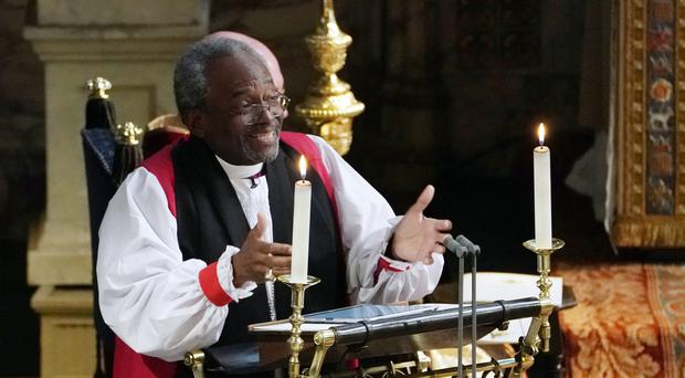The Most Rev Bishop Michael Curry delivers his address (Owen Humphreys/PA)