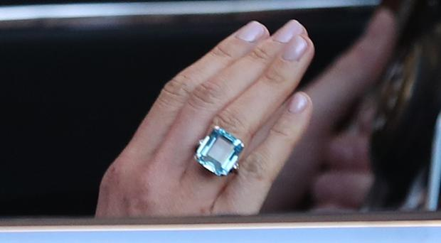 Close up of the ring worn by the newly married Duchess of Sussex (Steve Parsons/PA)