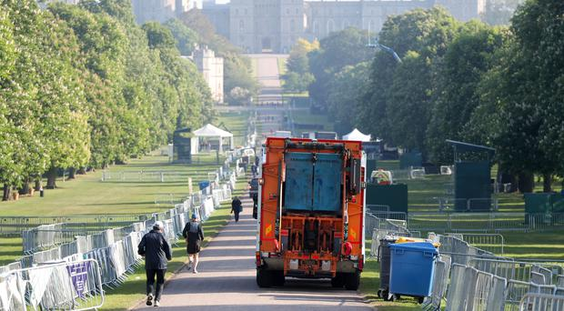 A bin lorry makes its way down the Long Walk in Windsor (Andrew Matthews/PA)