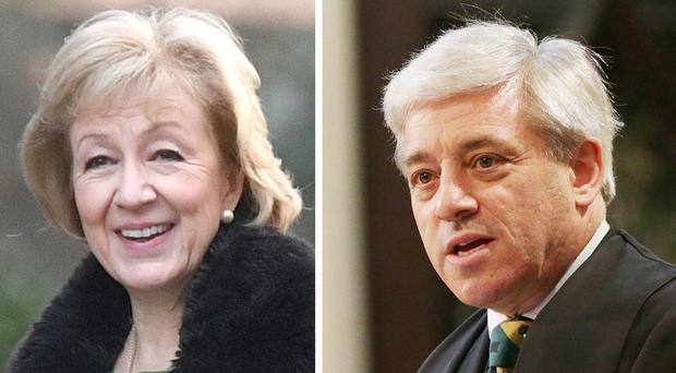 John Bercow said he would continue to publicly disagree with the Government's management of business, which is led by Andrea Leadsom (PA)