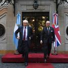 Boris Johnson meets Argentinian foreign minister Jorge Faurie at the foreign ministry in Buenos Aires (Stefan Rousseau/PA)