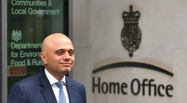 Home Secretary Sajid Javid outside the Home Office (Dominic Lipinski/PA)