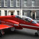 A Red Arrows jet in Downing Street (Dominic Lipinski/PA)