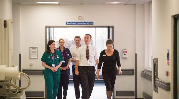 Jeremy Hunt during a visit at St George's Hospital in Tooting, west London (Stefan Rousseau/PA)