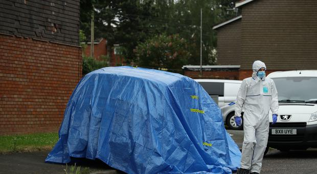 Police at the scene of a fatal stabbing in Wolverhampton (Aaron Chown/PA)
