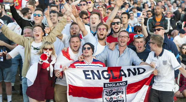 England football fans watching the opening England Euro 2016 game against Russia (PA)
