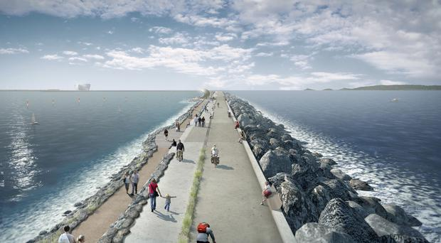 The scheme includes plans for a six-mile sea-wall with turbines to generate low-carbon electricity (Tidal Lagoon Power/PA)