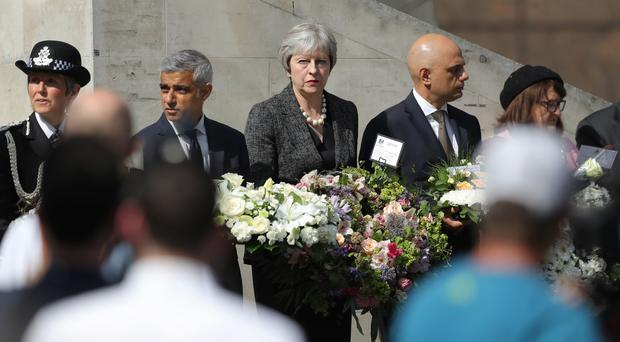 Cressida Dick, Sadiq Khan, Theresa May and Sajid Javid at Southwark Gateway Needle (Andrew Matthews/PA)