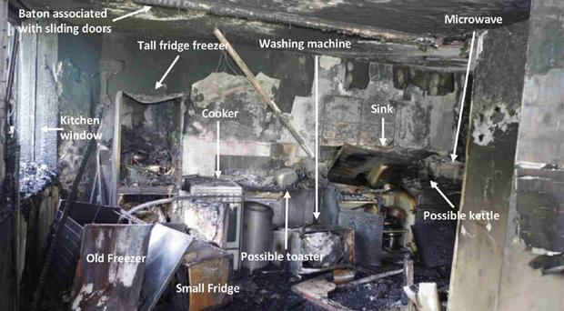 The kitchen in flat 16 where the fire started on June 14 last year (Grenfell Tower Inquiry/PA)