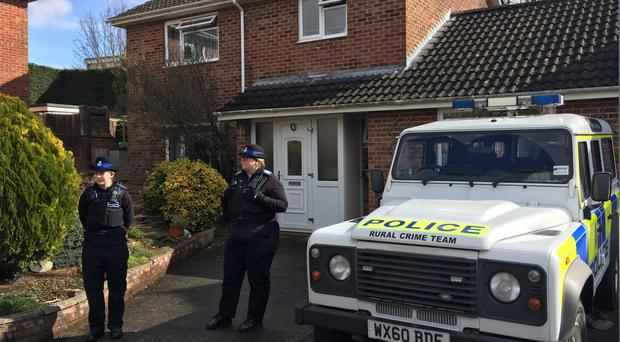 Police Community Support Officers outside the Salisbury home of Sergei Skripal (Ben Mitchell/PA)