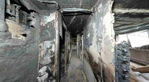 A flat in Grenfell Tower after the devastating fire which swept the building (Grenfell Tower Inquiry/PA)