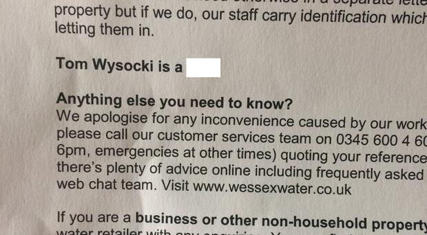 The letter sent out by Wessex Water (@AlanaBarke/Twitter)