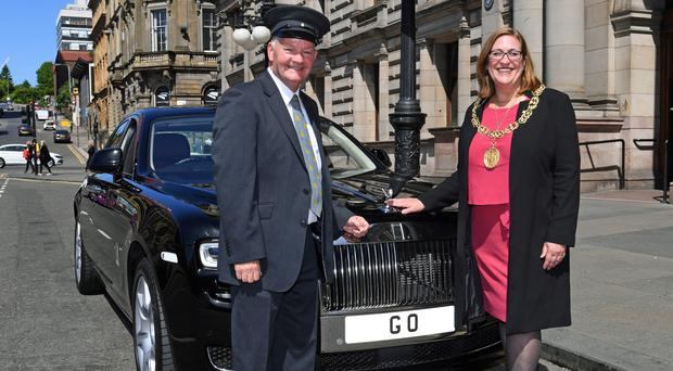Lord Provost Eva Bolander with the Rolls Royce Ghost (Glasgow City Council/PA)