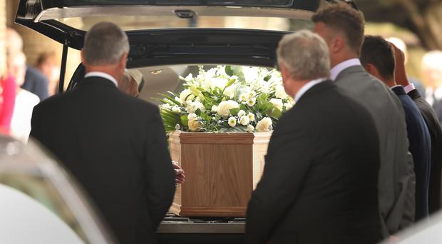 The coffin of 1966 World Cup winner Ray Wilson arrives at Huddersfield Crematorium (Danny Lawson/PA)