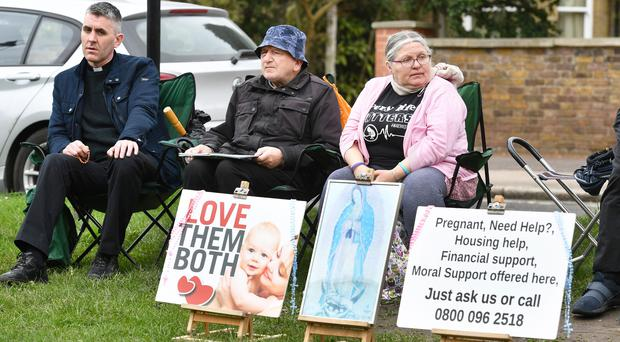 Protesters outside the Marie Stopes clinic on Mattock Lane (John Stillwell/PA)