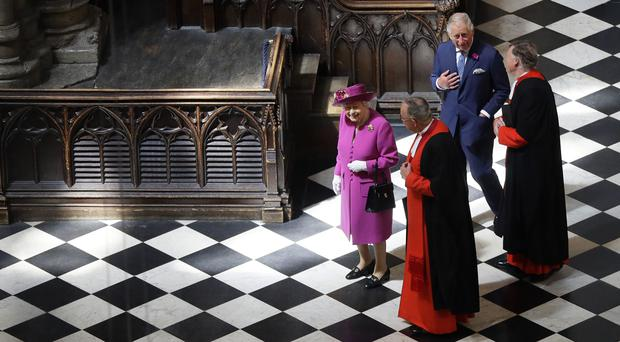 The Queen and the Prince of Wales in Westminster Abbey (Kirsty Wigglesworth/PA)