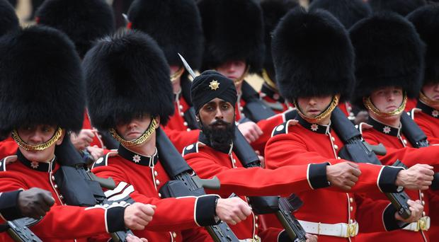 Coldstream Guards soldier Charanpreet Singh Lall wearing a turban during a rehearsal for Trooping the Colour (Stefan Rousseau/PA)