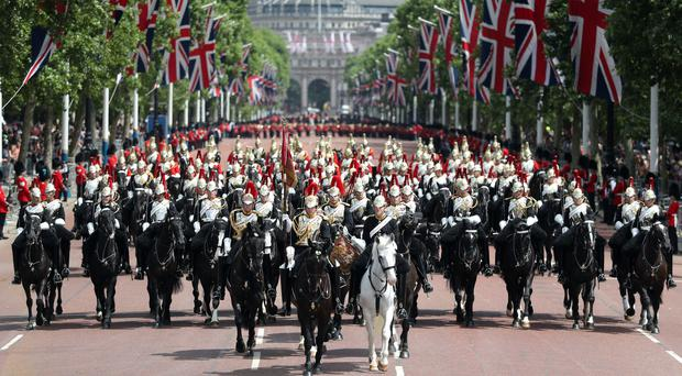 Members of the Household Cavalry after taking part in the Colonel's Review, the final rehearsal of the Trooping the Colour (Andrew Matthews/PA)