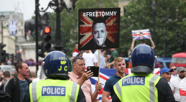 Supporters of Tommy Robinson during their protest in Trafalgar Square, London calling for his release from prison (Jonathan Brady/PA)