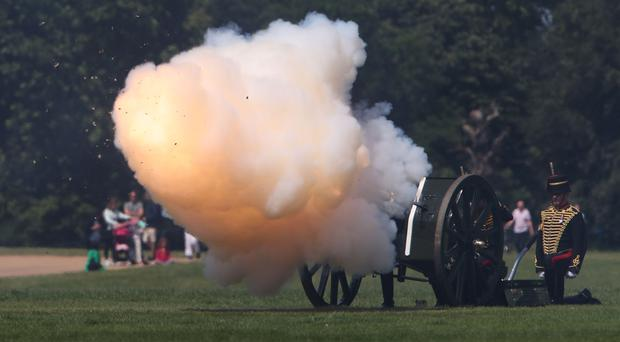 The 41-gun salute by the King's Troop Royal Horse Artillery celebrated the 97th birthday of the Duke of Edinburgh (Yui Mok/PA)