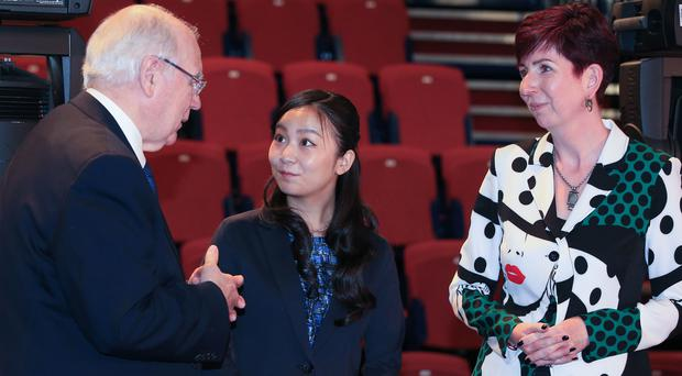 Princess Kako of Akishino talks to University of Leeds vice-chancellor Sir Alan Langlands (Peter Byrne/PA)
