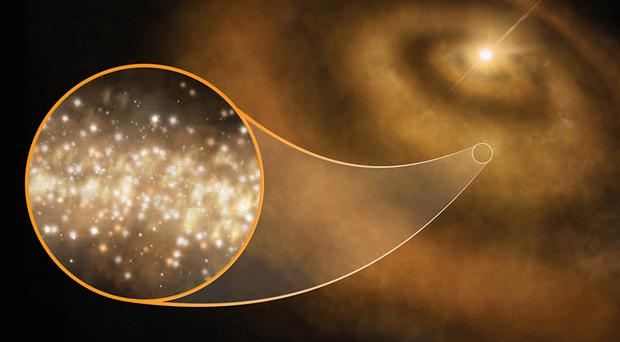 A stream of microwaves emanating from star systems could be caused by tiny diamonds, research suggests (Cardiff University/PA)